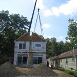 Modular home construction at the home site.