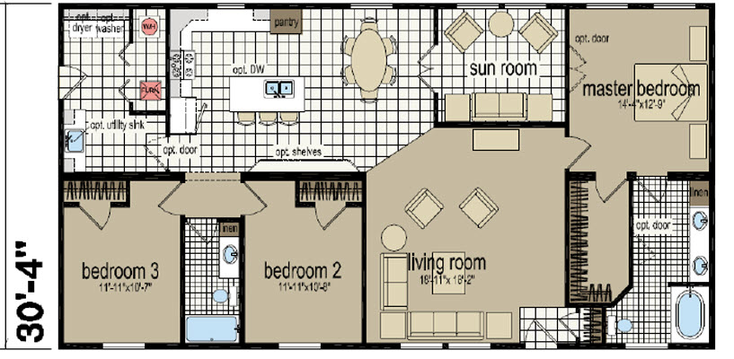 This 1,800 sq.ft. home only $109,180. This floor plan has several variations in configurations.